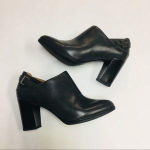 Clark's | Artisan Grey Leather Buckle Bootie Heels